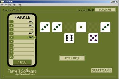 Tams11 Farkle Solo screen shot